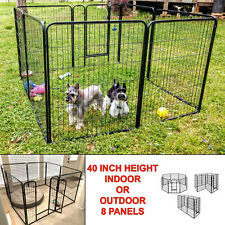 8 Panel Pen Dog Kennel Extra Large 40 Inch Tall Exercise Playpen with Gate Black