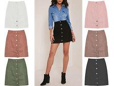 WOMEN New Faux SUEDE Button Front SKIRT Vintage A Line Mod 70's Mini Skirt 6-14