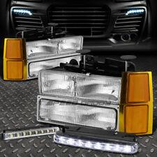 8PC CHROME CLEAR HEADLIGHT+CORNER+8 LED GRILL FOG LIGHT FOR 94-98 CHEVY C10 C/K