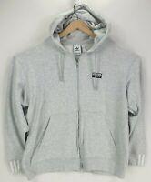 Adidas Mens Grey Zip Up Hoodie Hooded Sports Jacket Track Top 3 Stripes XL VGC
