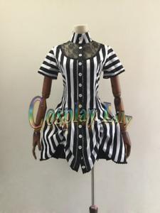 Gothic Lolita Medieval Victorian Black and White Stripe Dress custom made