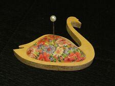 VINTAGE LIBERTY FABRIC PIN CUSHION - SWAN SHAPED - PIED PIPER, WALES