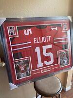 Ezekiel Elliott Authentic Autograph framed Jersey COA UAAA NCAA Buckeyes