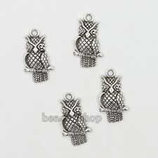 20x Silvery Tone Lovely Animal Owl Charms Zinc Alloy Pendants Findings Lots BS