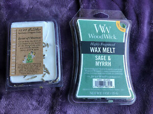Lot Of 2 New Wax Melts Woodwick Sage & Myrrh 1803 Spirit Of Christmas