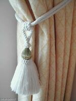 2 NATURAL COTTON CURTAIN TASSEL TIEBACKS WITH BRASS TRIM - CREAM TIE BACKS