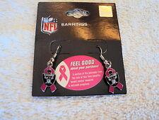 OAKLAND RAIDERS Football Shield Pink BCA Ribbon Charm NFL Silver Dangle Earrings