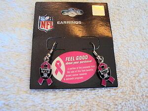 Las Vegas Raiders Football Shield Pink BCA Ribbon Charm Silver Dangle Earrings