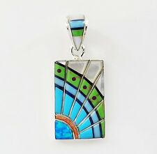 COOL HANDCRAFTED CONTEMPORARY .925 SILVER PENDANT IN TURQUOISE/MULTICOLOR  INLAY