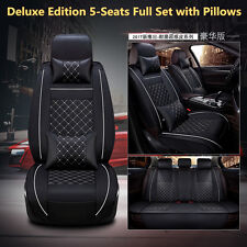 Deluxe PU Leather Car Seat Cover 5-Seats Full Front+Rear Cushion W/Pillow Size M
