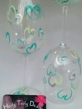 2 Hand-Painted Teal and Green Hearts for Valentine's Wine Glasses