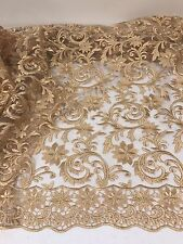 "GOLD MESH W/GOLD EMBROIDERY BEIDAL LACE FABRIC 50"" WiIDE 1 YARD"