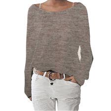 Women Long Sleeve Casual Loose Shirt Knit Blouse Ladies Top Tees Shirt Plus Size