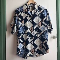 VINTAGE Navy Blue Ivory Geometric SILK Floral Short Sleeve Button Down Medium