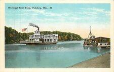 Mississippi, Ms, Vicksburg, Mississippi River Ferry 1920's Postcard