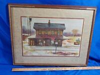 Ranulph Bye VTG Watercolor Litho Print Manville Railroad Stations Signed MCM