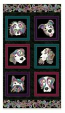"""Dog on it  Quilting Fabric Panel Gold Metallic Highlights Cotton 24"""" x  42"""""""