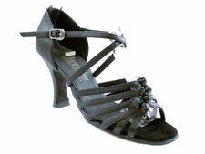 Women's Black Leather Swing Ballroom Salsa Latin Dance Shoes heel 2.5 Size 7.5