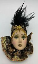 Unique Creations Small Deco Lady Face Mask Wall Hanging Black Feathers It/469