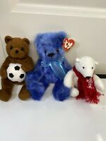 Set Of 3 Bears. 1 Coca Cola Plush Mini Polar Bear. 2x Ty Beanie Babies Plush.