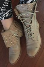 Wittners 💕 Unique$299 Studded Beige Leather  Boots Shoes Marked 38 Fits 39 Or 8