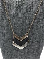 """Long Gold Tone Chain Necklace with V Shaped Tri-Color Tone Chevron Pendant 28"""""""