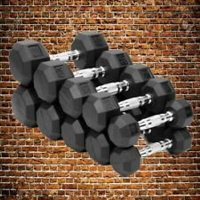 10 20 30 40 50 lb Pound PAIR Rubber Coated Hex Dumbbell Set SHIPS FAST! rogue
