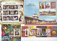 India 2011 MNH Complete Set of 8 Miniatures Stamps