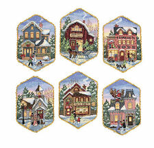 Cross Stitch Kit ~ Gold Collection Set of 6 Christmas Village Ornaments #8785