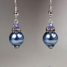 Cornflower blue lilac pearls crystals silver wedding bridesmaid bridal earrings