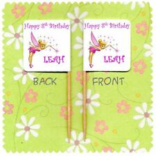 20 PERSONALISED TINKERBELL CUP CAKE FLAG Party Pick Topper Decoration Birthday