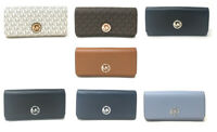 NWT Michael Kors Fulton Flap Continental Leather / Signature Wallet