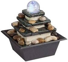 Zen Indoor Water Fountain with LED Light Rolling Ball 3-Tier for Table Top Desk