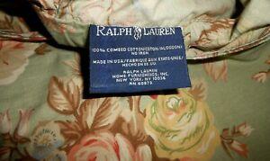 MINT Lk Nw SET of 2 RALPH LAUREN CHARLOTTE Sage Green Floral KING SHAMS