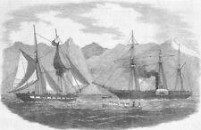 CHILE. Capturing pirate ship, Magellan strait, antique print, 1852