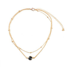 Boho Multilayer Choker Necklace Turquoise Moon Chain Silver Women Beach Jewelry
