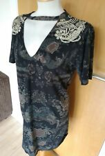 Ladies RIVER ISLAND DRESS Size 10 Black Gold Embroidery Smart Party Evening