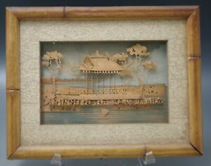 ANTIQUE VINTAGE CHINESE HAND CARVED CORK ART DIORAMA FRAMED