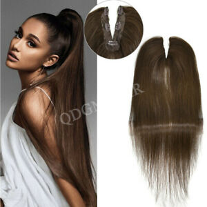 Human Hair Clip In Ponytail Brown Blonde Straight Hair Extension Weft Pony Tail