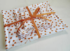 Handmade set of 4 Placemats, Coasters and Napkins. White with orange dots.