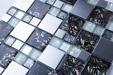 1 SQ M White & Silver Glass with Steel Bathroom Kitchen Mosaic Tile (MT0164)