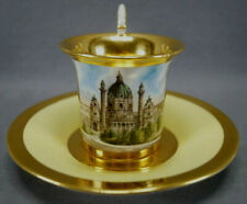 Royal Vienna Hand Painted Karlskirche Scenic Yellow & Gold Cup & Saucer C. 1803