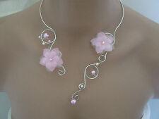 Collier couleur Rose clair pâle pr robe de Mariée/Mariage/Soirée perles pas cher