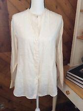 J CREW Ivory White 100% LINEN Button down Tunic length TOP Shirt Long sleeve M
