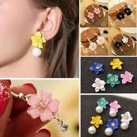 Women Geometric Pearl Flower Petals Earring Crystal Ear Drop Dangle Stud Jewelry