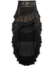 Punk Rave Steampunk Skirt Long Brown Stripe Faux Leather Gothic VTG Victorian