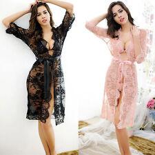 Women Sexy/Sissy Lace Lingerie Babydoll G-String Thong Underwear Nightwear Robe