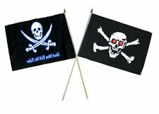 "12x18 12""x18"" Wholesale Combo Pirate Dead Men Tale & Red Eye Skull Stick Flag"