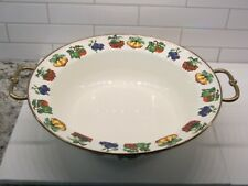 "Kensington Garden Tabletops Unlimited footed serving enamelware 14"" rimmed bowl"