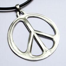 Big Peace Sign Symbol Love No War Hip Hop Punk Pewter Pendant Choker Necklace